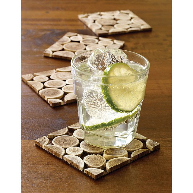 Reclaimed Wood Branch Coasters - Set of 4 3