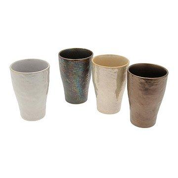 Metallic Stoneware Cups - Set of 4