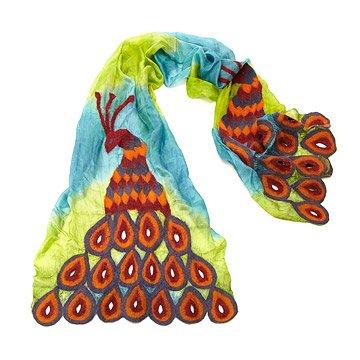 Felted Silk Peacock Scarf