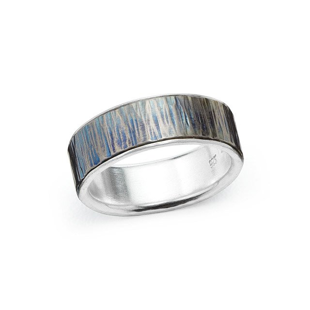 Woodgrain Titanium Wedding Band - Wide