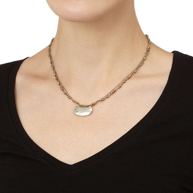 Hammered Oval with Pyrite Necklace 3