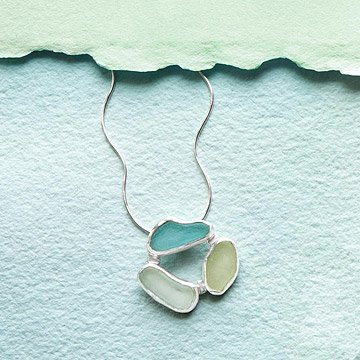 3 Stone Sea Glass Necklace