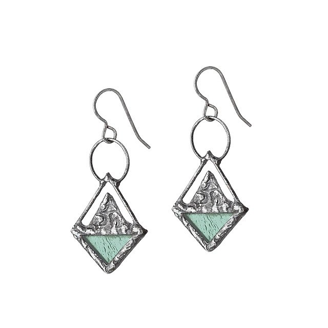 Triangle Stained Glass Earrings