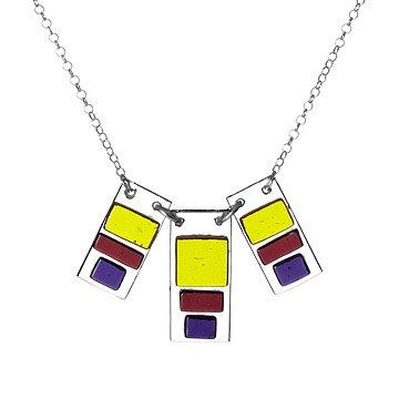 Triple block glass pendant
