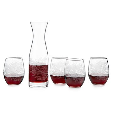 Peacock Stemless Wine Glasses and Carafe