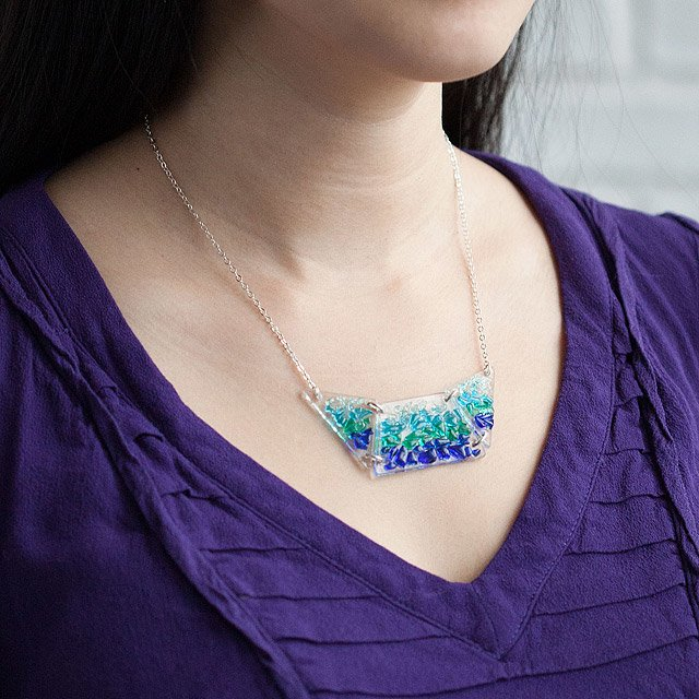 Shattered glass bib necklace 2