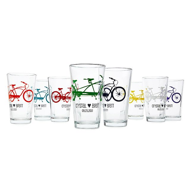 Personalized Tandem Bike Tumblers - Set of 8