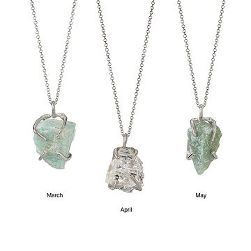 Raw Quartz Birthstone Necklace