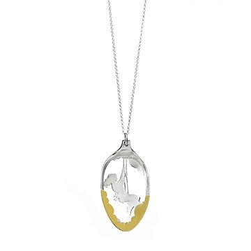 Small Silver Spoon Diorama Necklace