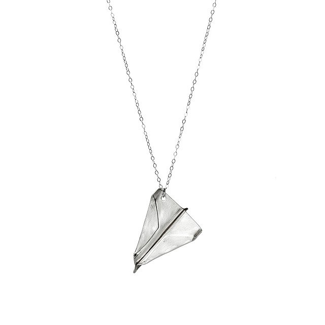 Sterling Silver Paper Airplane Necklace