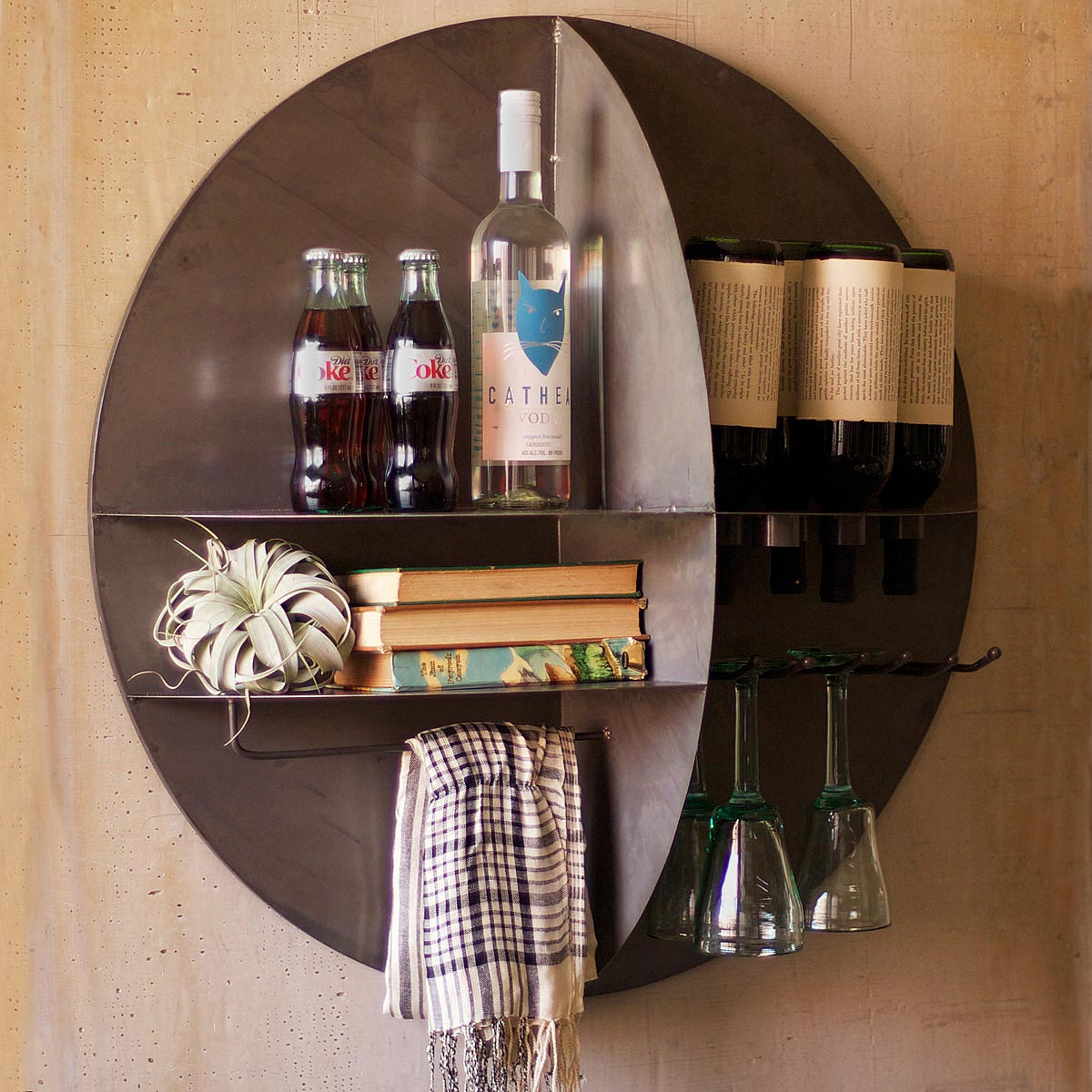 Hanging wine rack with glass holder - Wall Wine Bar 1 Thumbnail