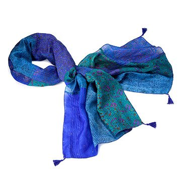Silk Patchwork Tassel Sari Scarf