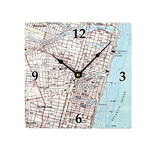 Custom Nautical Map Clock 2