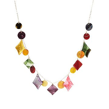 Harlequin Diamond Veggie parchment necklace