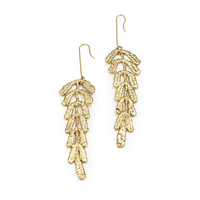 Gold Dipped Vine Lace Earrings