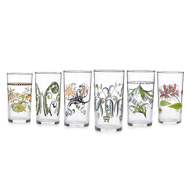 Floral Wine Glasses - Set of 6