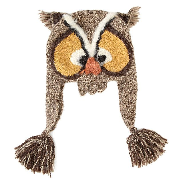Hand Crocheted Owl Hat novelty hats UncommonGoods