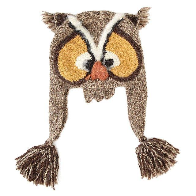 Crochet Owl Hat : Hand Crocheted Owl Hat novelty hats UncommonGoods