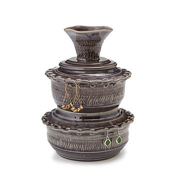 Wheel Thrown Double Tiered Jewelry Bowl