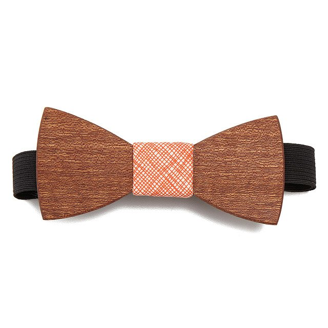 Orange Pop Wooden Bow Tie