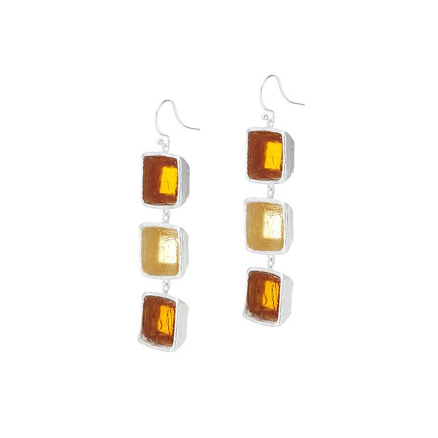 Mosaic Square Triple Drop Wire Earring