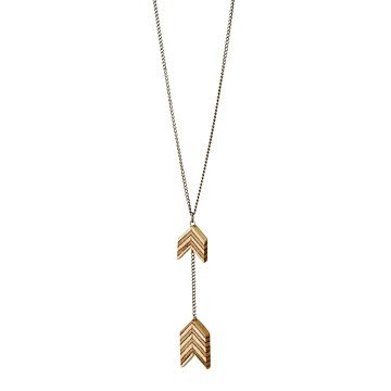 Salvaged Furniture Wood Double Arrow Necklace