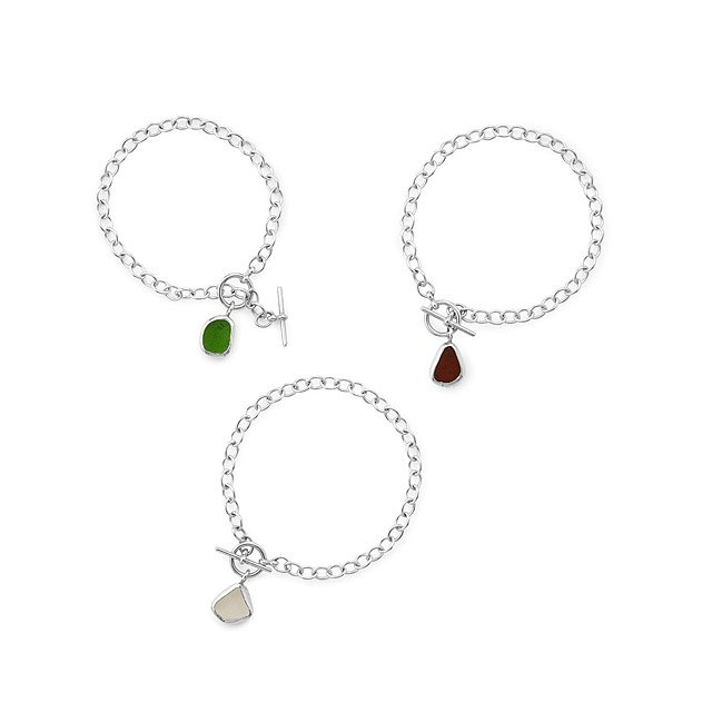 Sterling Silver Sea Glass Toggle Bracelet