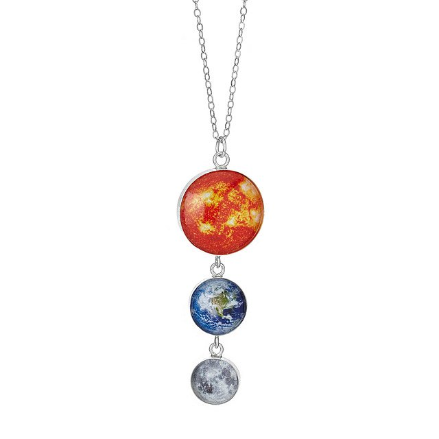 Earth, Moon and Sun Sterling Silver Necklace
