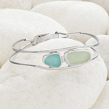 Sea Glass Sterling Clasp Bracelet