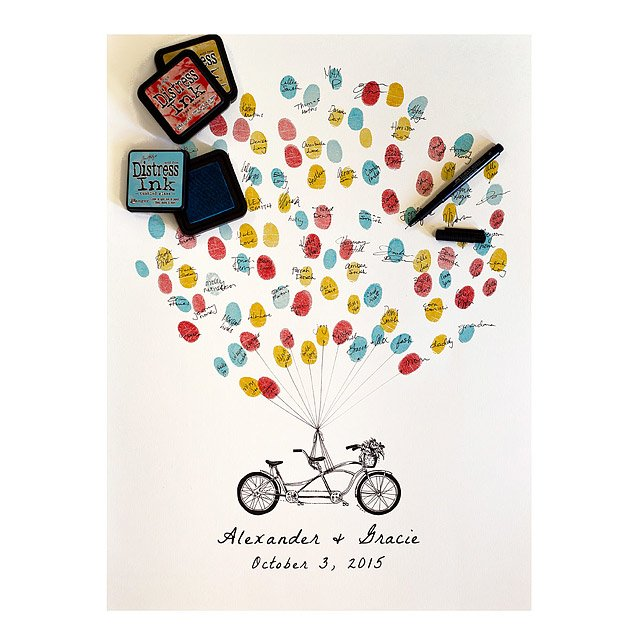 Thumbprint Alternative Guestbook - Tandem Bike