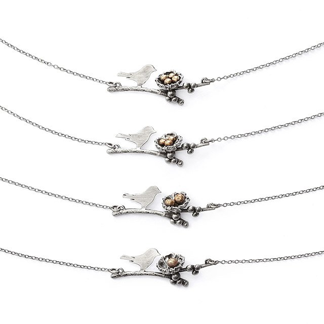 Mother Bird Family Necklace