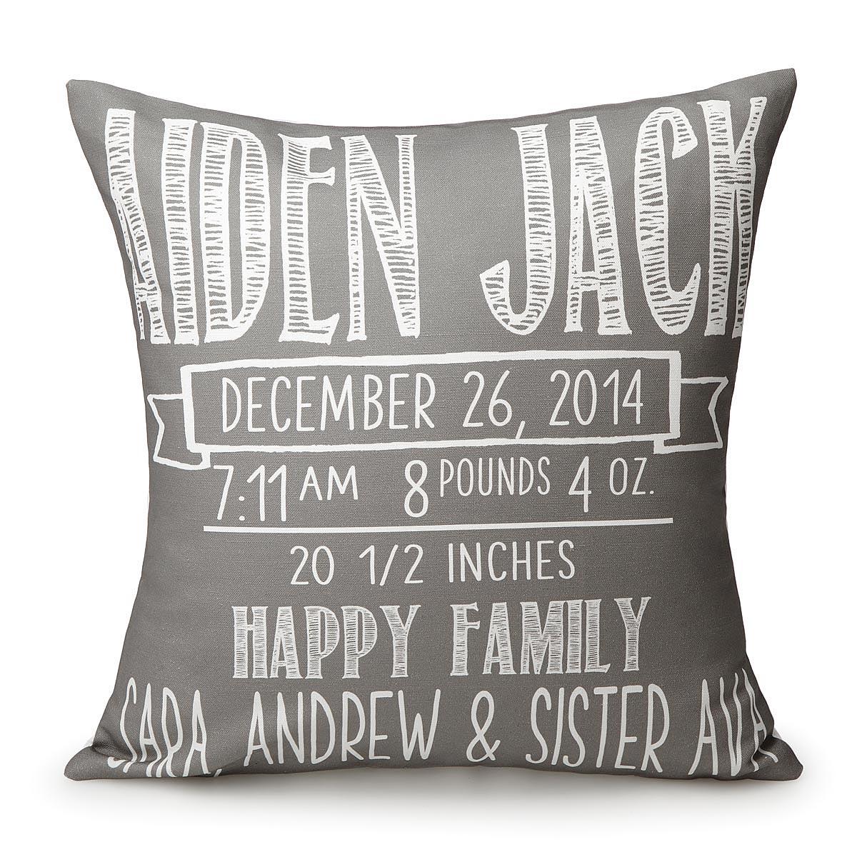 Chalkboard Birth Announcement Pillows – Chalkboard Birth Announcement