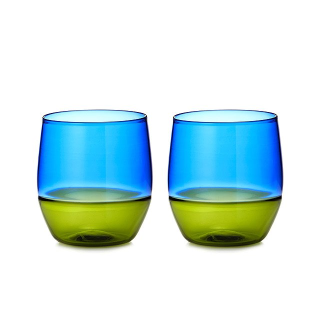 Two Toned Upcycled Stemless Wine Glass Set