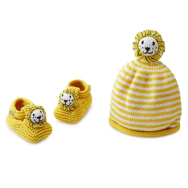Knit Lion Hat and Bootie Set