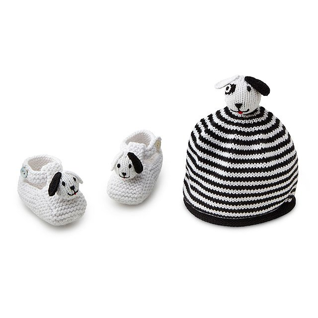 Knit Dalmation Hat and Bootie Set