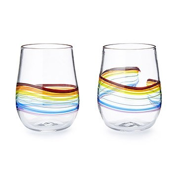 Rainbow Stemless Wine Glass - Set of 2