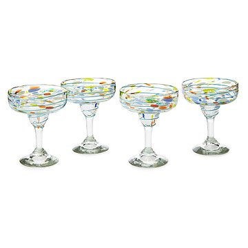 Recycled Confetti Margarita Glasses - Set of 4