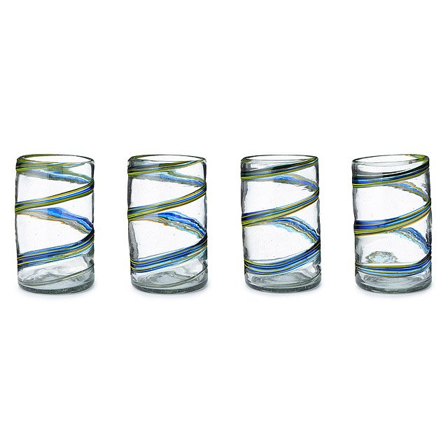 Recycled Spiral Glassware - Set of 4