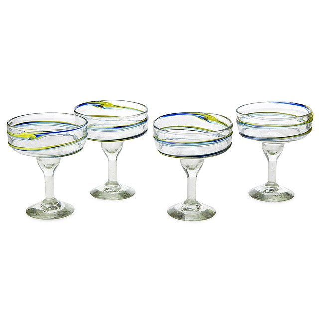 Recycled Spiral Margarita Glasses - Set of 4