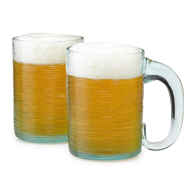 Glass Beer Stein - Set of 2