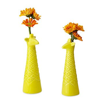 Porcelain Giraffe Bud Vases - Set of 2