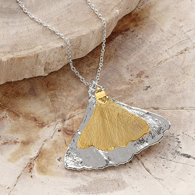 Gold On Silver Ginkgo Leaf Necklace
