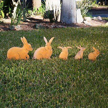 Bunny Family Garden Sculptures - Set of 5