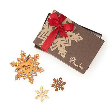Cherry Wood Personalized Snowflake Ornament