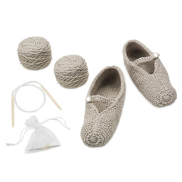 Silver Cotton Mary Jane Slipper Knit Kit