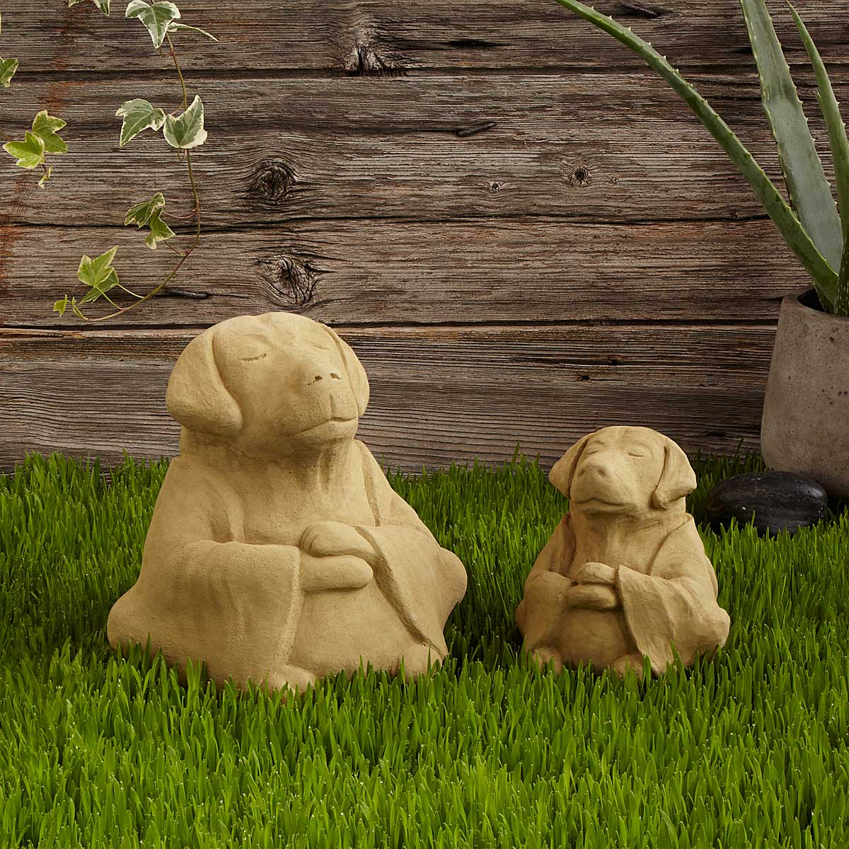 Zen Dog Garden Sculpture zen garden praying sculpture