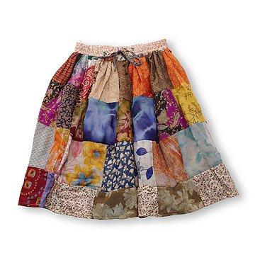 Upcycled Sari Patch Skirt