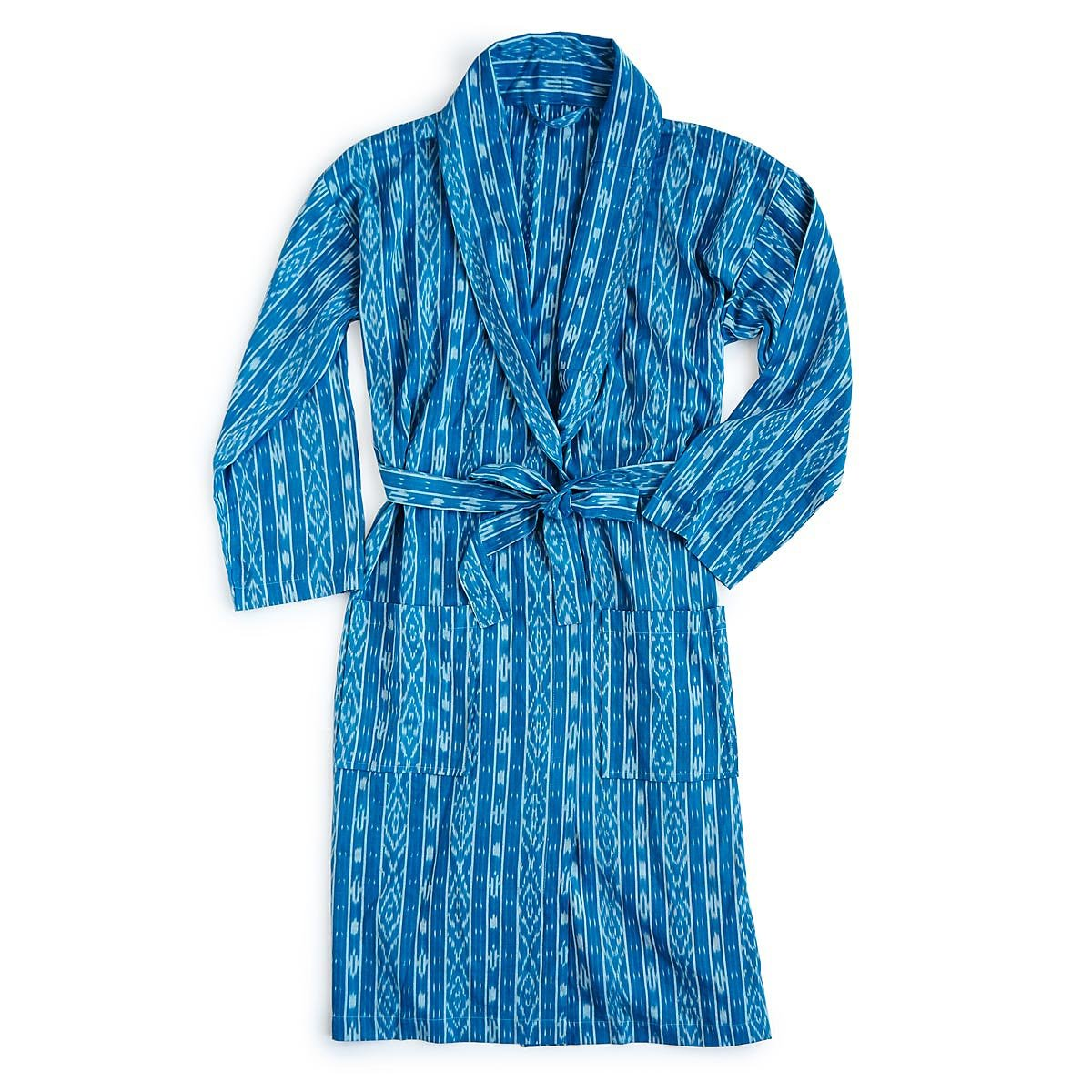 Blue Ikat Mens Robe