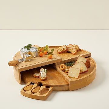 compact swivel cheese board with knives cheese knives uncommongoods