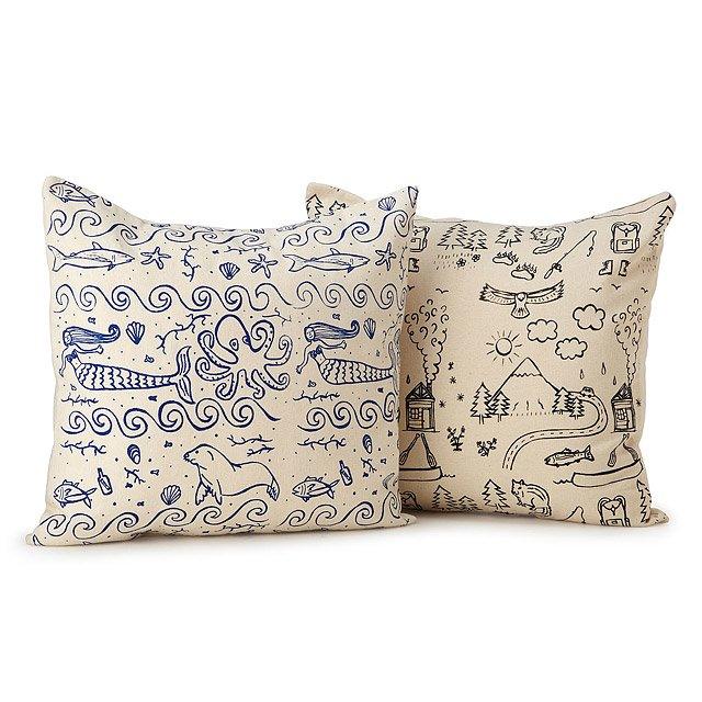 Illustrated Land & Sea Pillows